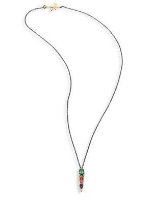NIKOS KOULIS Spectrum Diamond, Tsavorite, Iolite & Pink Tourmaline Pendant Necklace