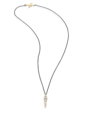 NIKOS KOULIS Tapered Diamond & 18K Black Gold Pendant Necklace