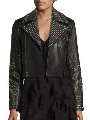 Cody Studded Leather Moto Jacket