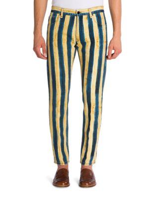 Straight-Fit Striped Denim Pants