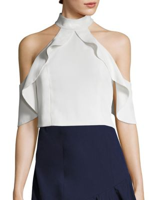 Cabot Cold-Shoulder Cropped Top by Alice + Olivia