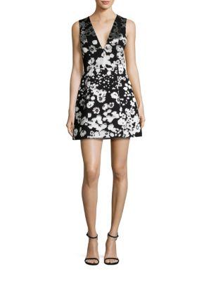 Patty Floral-Print Satin Lantern Dress