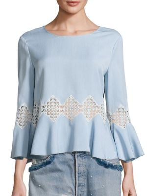 Chambray Bell Sleeve Top by Jonathan Simkhai