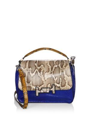 Double T Amu Python Skin Messenger Bag