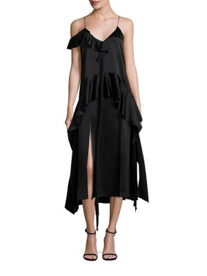 Silk Ruffle Midi Dress