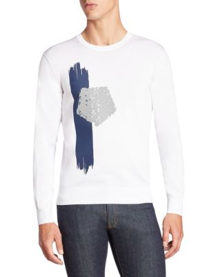 Brush Stroke Pentagon Printed Sweater