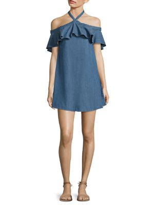Alexia Off-The-Shoulder Chambray Halter Dress by Alice + Olivia