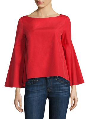 Shirley Bell Sleeve Split-Back Top by Alice + Olivia