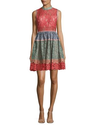 Vedette Colorblock Lace Dress