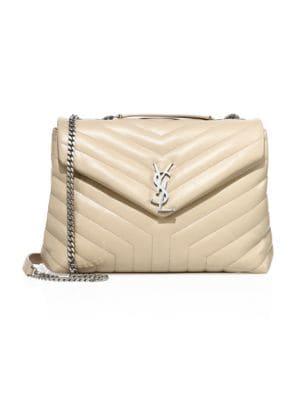 SAINT LAURENT Medium Lou Lou Chevron Quilted Leather Crossbody Bag