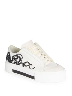 Embroidered Canvas & Leather Low-Top Sneakers