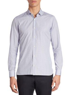 Micro Square Printed Cotton Shirt