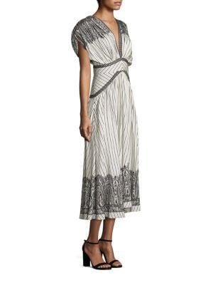 Printed V-Neck Silk Dress
