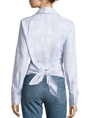 Cotton Poplin Tie-Back Tuxedo Shirt by Helmut Lang