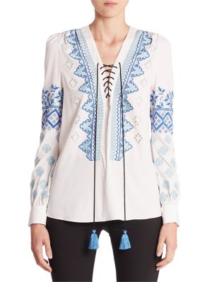 Pueblo Embroidered Lace-Up Blouse