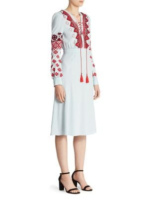 Hidalgo Embroidered Lace-Up Dress