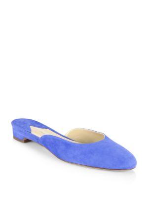Alba Suede Closed Toe Slide Sandals