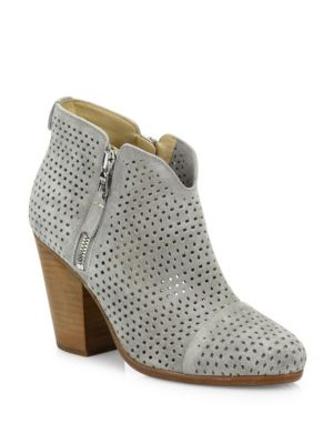 Margot Perforated Suede Zip Booties