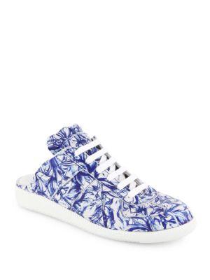Floral Leather Sneaker Slides
