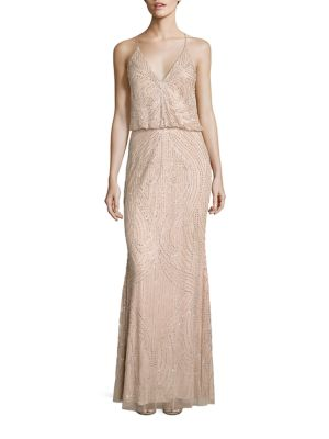 Halter Beaded Blouson Gown