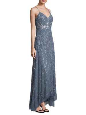 Beaded Spaghetti Strap Gown