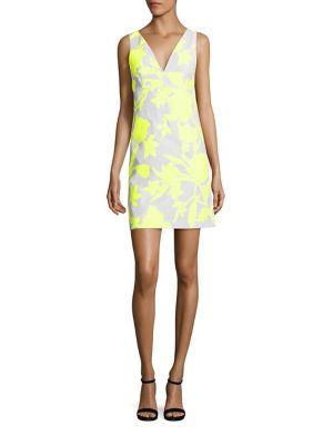Neon Floral Jacquard Mini Dress