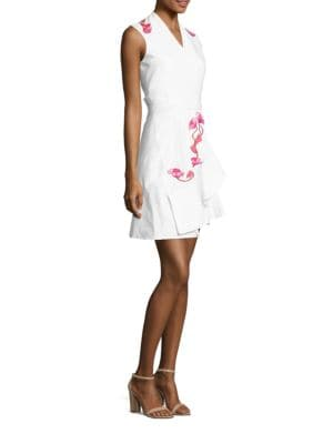 Sleeveless Floral Embroidered A-Line Dress