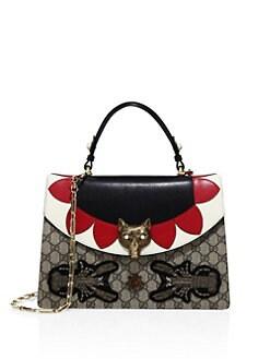 Gucci - Medium Embellished GG Supreme & Leather Top Handle Bag