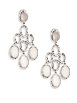 Bamboo White Moonstone & Sterling Silver Chandelier Earrings