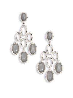 Bamboo Grey Moonstone & Sterling Silver Chandelier Earrings