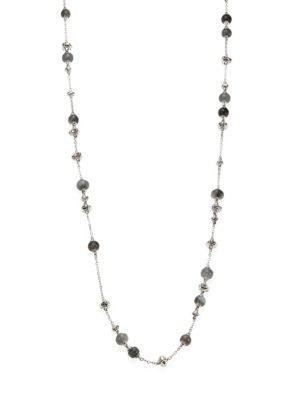 Bamboo Grey Moonstone & Sterling Silver Sautoir Necklace/36