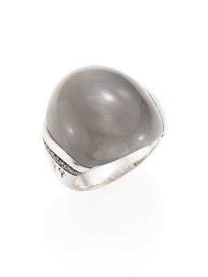 Bamboo Grey Diamond, Grey Moonstone & Sterling Silver Ring