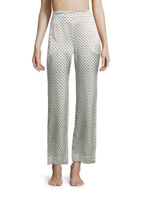 Printed Silk Satin Pajama Pants by Asceno