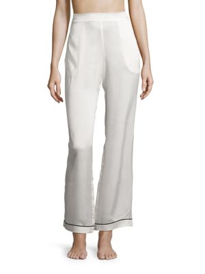 Piped Silk Satin Pajama Pants by Asceno