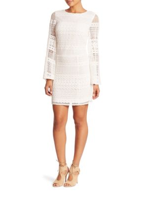 Grin Striped Lace Eyelet Sheath Dress