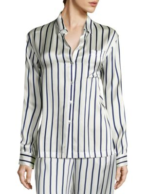 Striped Silk Pajama Top by Asceno
