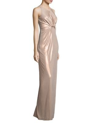 Metallic Jersey Cutout Gown