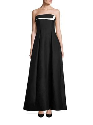 Strapless Colorblock Faille Gown
