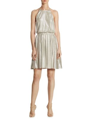 Metallic Blouson Dress