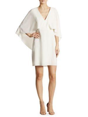 Flowy Cape Sleeve Crepe Dress