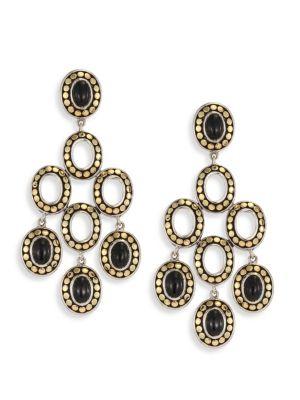 Dot Black Onyx & 18K Yellow Gold Chandelier Earrings