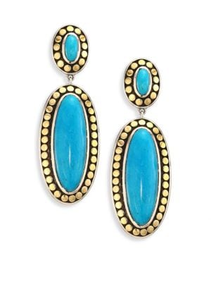 Dot Turquoise & 18K Yellow Gold Oval Drop Earrings
