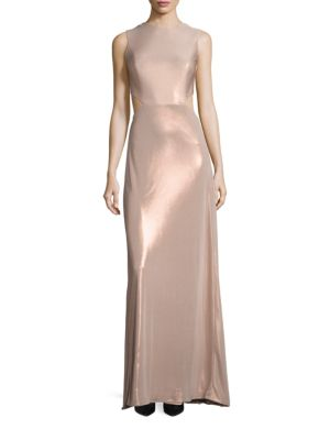 Metallic Jersey Twist Back Gown