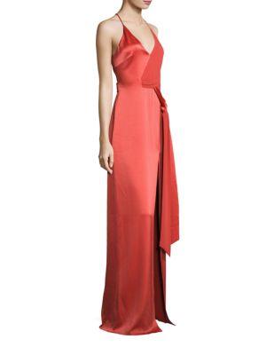 Tie-Front Satin Slip Gown