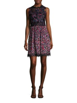 Reign Printed Lace Top Dress by Elie Tahari