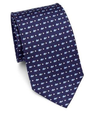 Turtle-Print Silk Tie