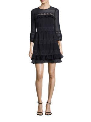 Silk Georgette & Lace A-Line Dress