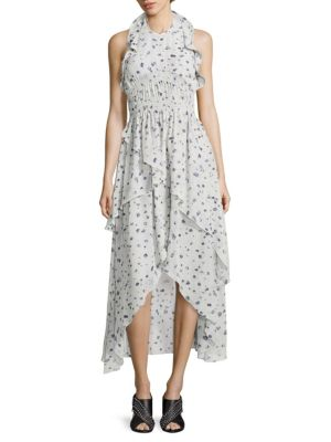 Jessy Ruffled Floral-Print Halter Dress