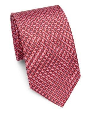 Gancini Logo Print Silk Tie