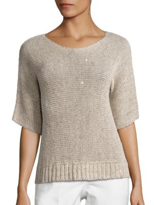 Metallic Sequined Knit Sweater